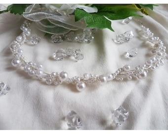 Wedding, Bridal headpieces, 7 rows of beads, white or cream, model Maja