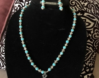Two Piece Jewelry Set Necklace and Earrings
