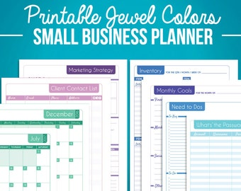 Small Business Organizer & Planner Sheet Package with 2017 2016 Calendar! Digital Downloadable PDFs - Jewel Tone Version