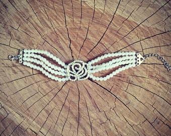 Faux pearl and diamanté bracelet/vintage wedding accessories