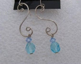 Handmade Sterling silver dangle earrings, Argentium sterling silver dangle earrings, Argentium silver drop earrings, Argentium Jewelry