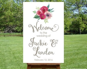 PRINTABLE Large Wedding Welcome Sign | Custom Floral Wedding Sign | Watercolor Flower Bridal Shower Sign | Personalized Wedding Sign DIGITAL