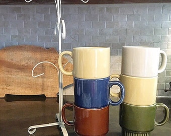 Vintage Set of 6 Coffee Cups with Stand
