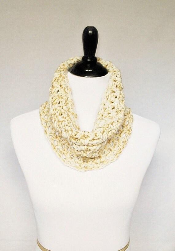 Cream and Gold Crochet Cowl, Beige Crochet Infinity Scarf, Linen Neck Warmer - Lacy Crochet V Stitch