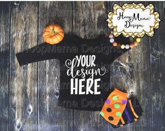 MOCKUP Halloween Black Ruffle Long Sleeve Shirt With Legwarmers, Instant Download, Commercial Use OK, Mock Up for Design Display