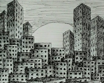 "Cityscape, Pen & Ink Drawing, 7.25"" x 10.25"""