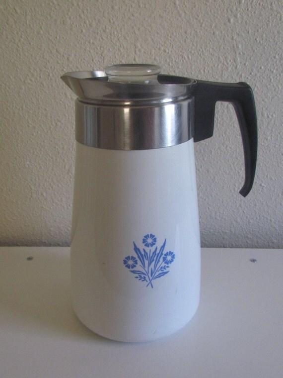 Corning Ware Blue Cornflower Stove Top 9 Cup Coffee Percolator