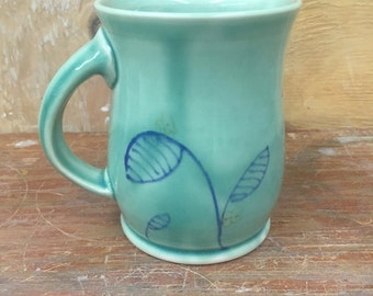 Handmade Porcelain Mug in Light Green with Flora Design 16 oz