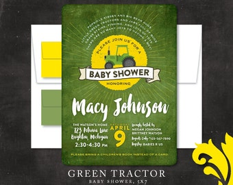 GREEN TRACTOR . baby shower invitation