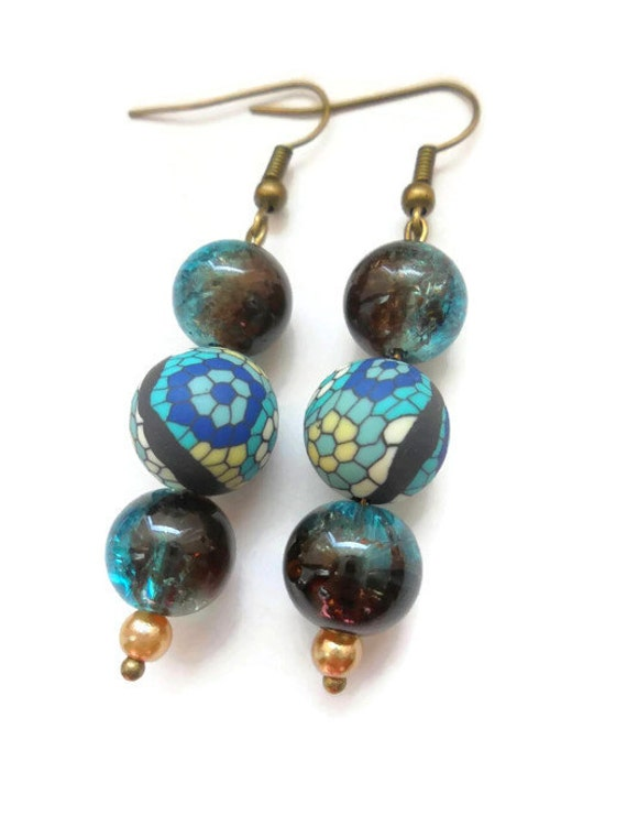 Glass beaded turquoise earrings, boho gypsy jewelry gifts for her.