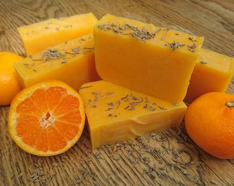 Natural soap, Lavender & Sweet Orange soap, natural handmade soap bar, SLS-free, paraben-free, cold process soap