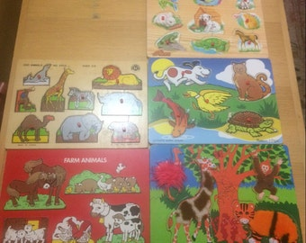 Five children's wooden puzzles/animal puzzles