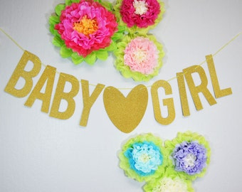 Gold Baby Girl Glittered Banner Great for Baby Shower Baby Girl- 2PGWD-GRL