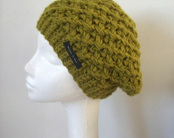 beanie hat Moss Green wool hat wool hat hand knit soft warm and cosy