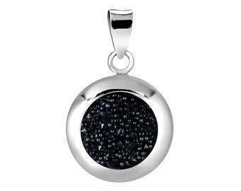 1 Pc Sterling Silver 20X16 mm Swarovski Crystal Circle Pendant (SSP100105)