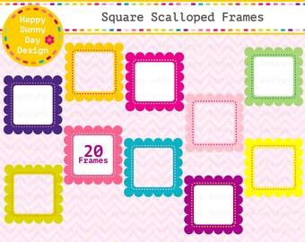 40% off Frame / Square Frame / Scalloped Frame / Square Scalloped Frames Clip Art - Instant Download - C014