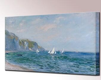 Claude Monet Cliffs and Sailboats Canvas Print Interior Design Home Decor Ready to Hang