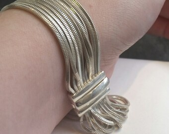 Milor Sterling Silver Bracelet 925 8 inch Mesh Rope Box Chain