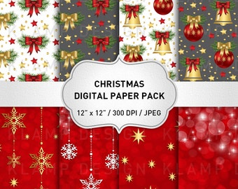 SALE! Red and Gold Christmas Digital Paper, Holiday Paper, Red Christmas Digital Paper, Christmas Background, Snowflake Papers