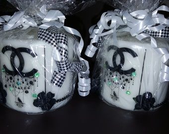 Fashion Rhinestone pillar candles set of 2