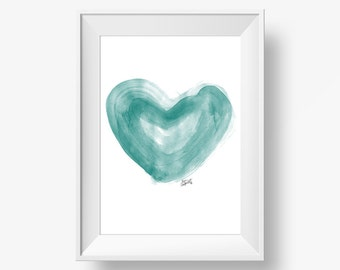 Watercolor heart art print printable art printable green cyan, art print, watercolor heart art, nursery art