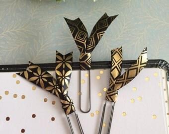 Black & Gold Ribbon Clip Set