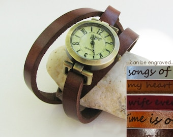 Watch personalized : colour leather and watch face, vintage woman minimalist watch, mothers day