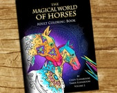 Adult Coloring Book Horses. 40 Beautifully Drawn Coloring Pages. On Sale