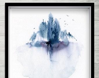 Sky Wood, indigo abstract painting, square watercolor painting, blue abstract, blue abstract painting, indigo blue forest art