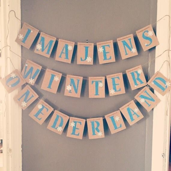 Winter ONEderland first birthday burlap banner, first birthday banner, birthday banner, winter onederland