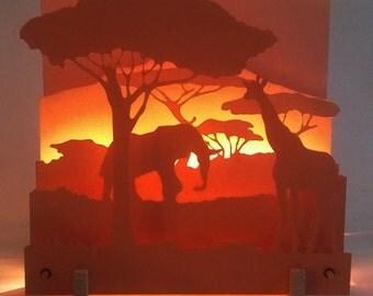 Light scene in three dimensions, shades of orange: savannah