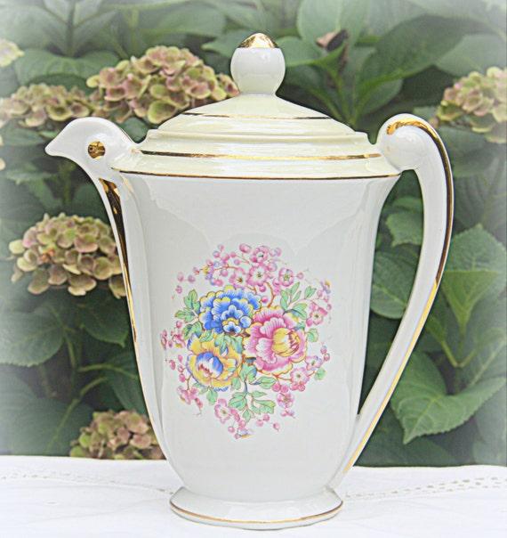 Vintage SA Limoges Large Porcelain Coffeepot/Teapot , Flower Pattern, France