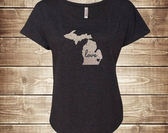 Glitter Michigan State Pride Dolman T-Shirt - Any State, Home, Love