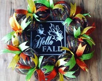 Fall wreath for front door, hello fall wreath, fall wreaths, thanksgiving wreath