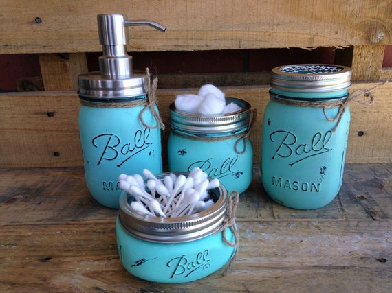Set of 4 5 painted mason jars bathroom decor home decor for Bathroom decor mason jars