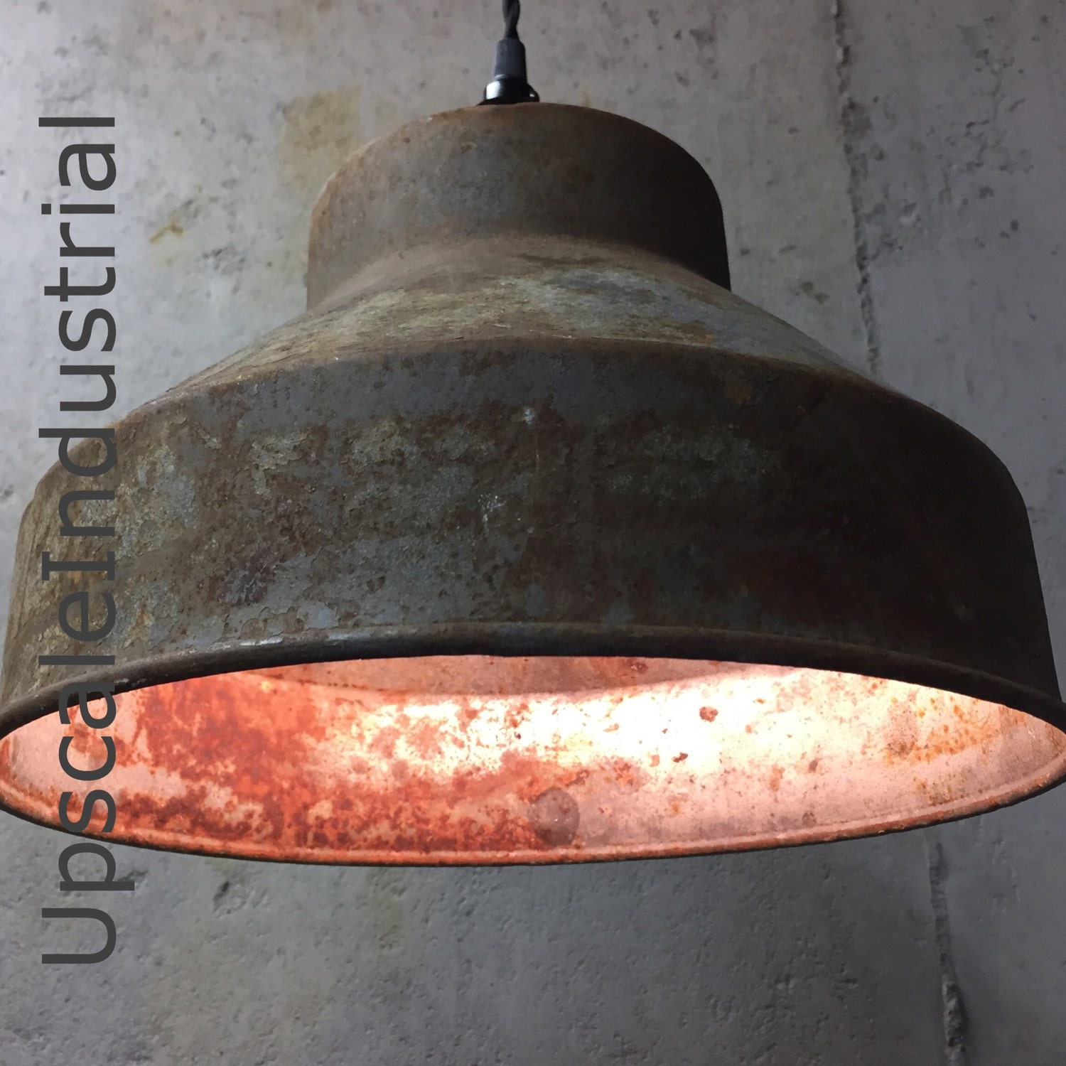 Custom Ceiling Rusty Pendant Light VINTAGE Repurposed
