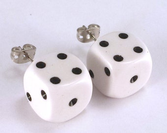 D6 Dice Earrings - your choice which number faces forward