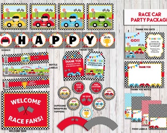 Racecar Package, Racecar Birthday Party Pack, Racecar Birthday Party Printable, Racecar Party Decorations, Instant Download