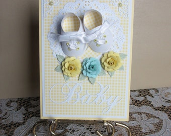 Handmade embellished yellow baby shoes card