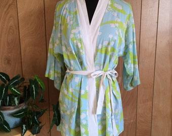 Vintage 1970's Floral Bathrobe Swimsuit Cover Up M
