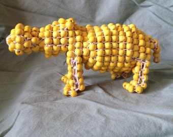 Yellow Beaded Hippo