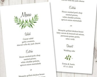 "Watercolor Wedding Menu Template ""Lovely Leaves"", Green. DIY Wedding Menu Printable Template, Tea Length. Edtable Text, Instant Download."