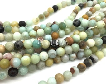 "Amazonite, 8mm round bead, 16"" strand. #R8S-012"