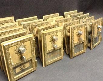 Vintage 20 Brass and Bronze US Postal Doors Combination