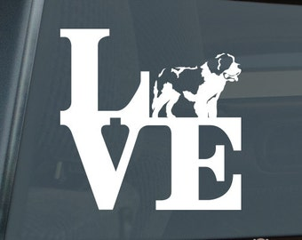 Love Saint Bernard Die Cut Vinyl Sticker park v2 st. st - 1311