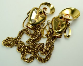 Gold Tone Sweater Pins with Chains—Calypso Dancers with Earrings