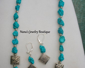 """Beautiful, Genuine Nugget Turquoise Hand Strung Necklace With Matching Dangle Earrings 19"""""""
