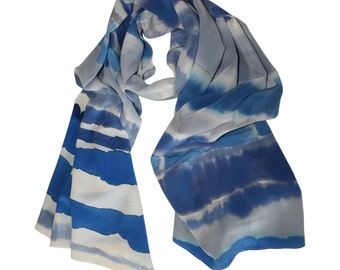 Hand Painted Silk Scarf, Blue and Grey / Striped Silk Scarf / Blue Silk Scarf / Women's Scarf / Silk Scarf / Spring Scarf / Summer Scarf