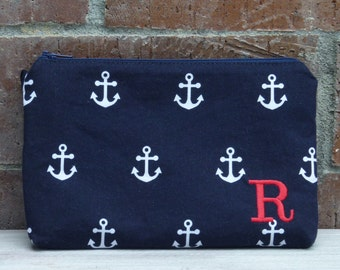 Navy Anchor Zipper Pouch Wallet; iPhone 6 Plus/Samsung Galaxy Cell Phone Pouch; Clutch; Make-Up Bag