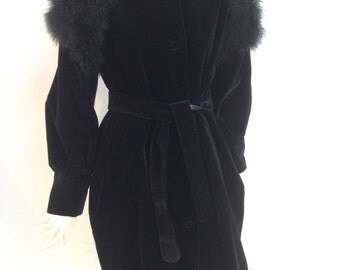 Black velvet/marabou coat designed and handmade by L.I.O.N.E.